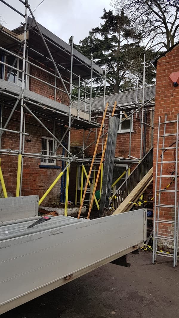 Scaffolding going up