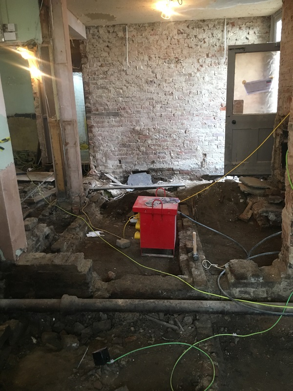 Bar area has been taken right back to the soil and base bricks