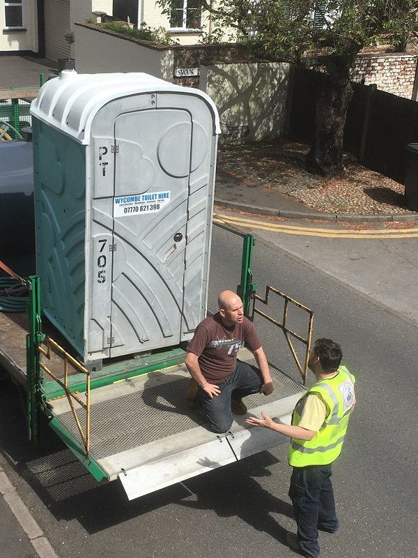 Portaloo for BBQ being delivered