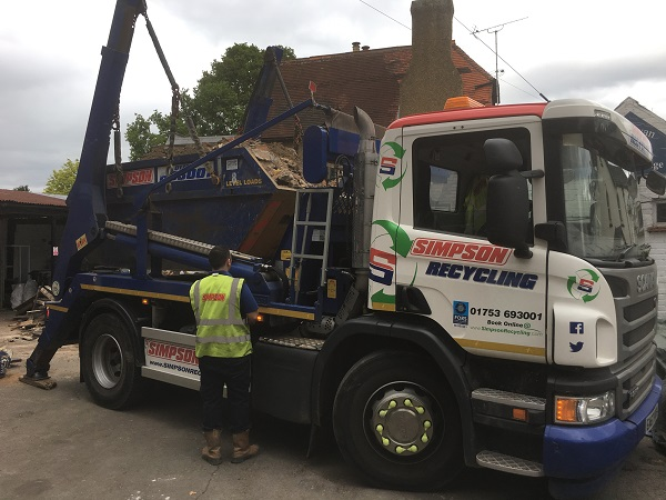 Very full skip being removed