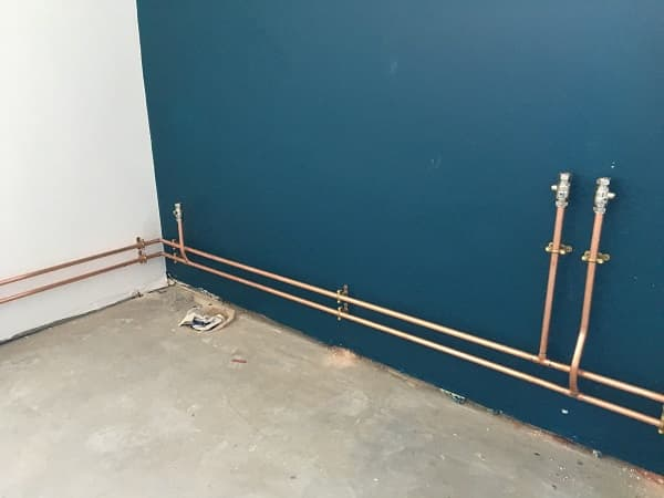 Water and waste plumbing installed