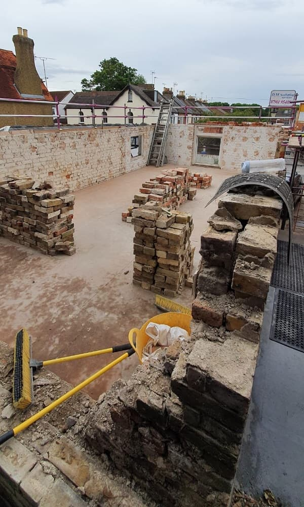 More brickwork carefully stacked - site is very clean
