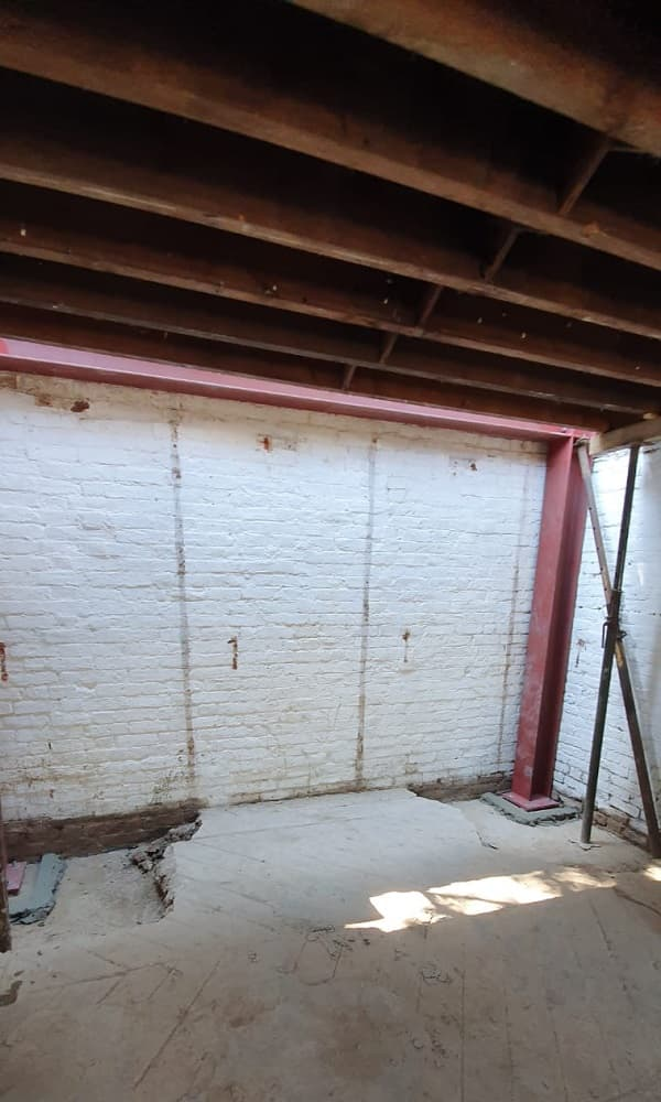 Steel in place inside The Coach House