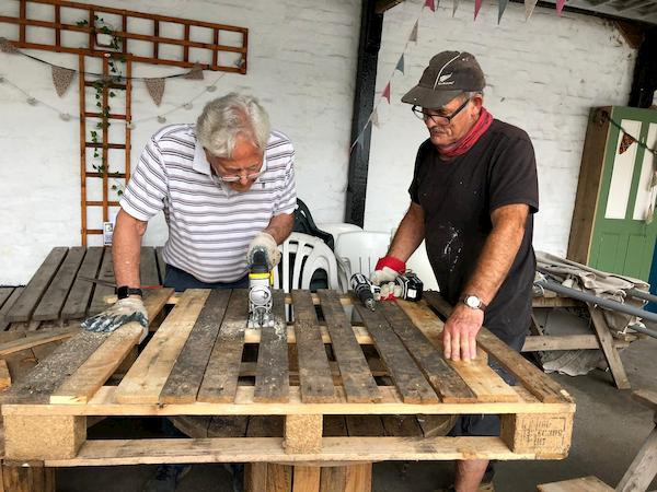 Jim and John making the additional bike rack