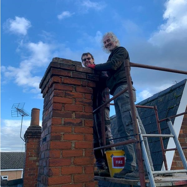 The lads working on the chimney stack